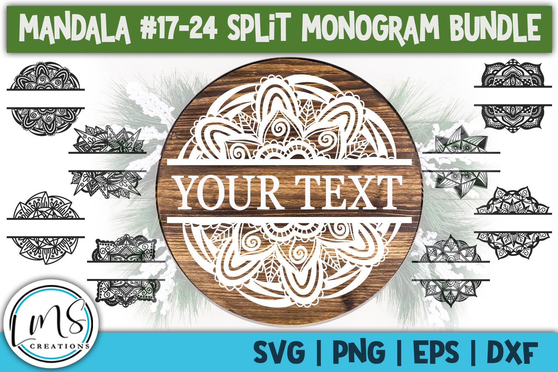 Split Mandala 1-24 Split Monogram Bundle SVG, PNG, EPS, DXF example image 5