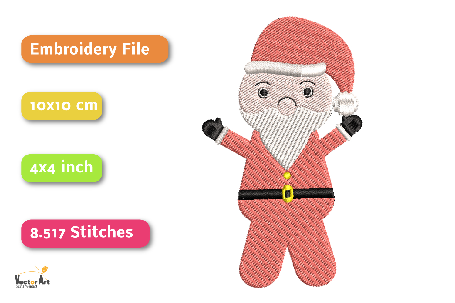 Santa Claus - Embroidery File - 4x4 inch example image 2