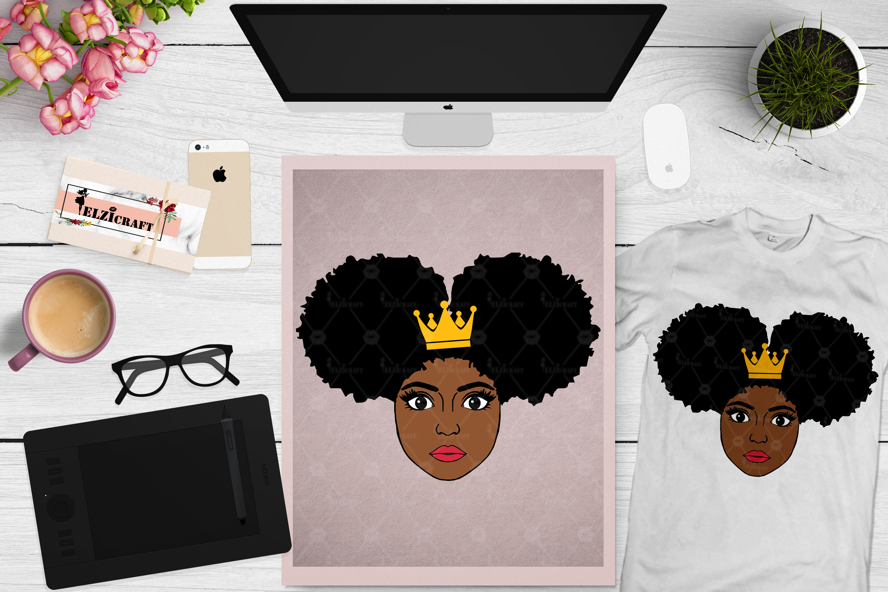 Afro Girl, Afro Puff, Afro Princess, Crown SVG Cut File example image 1