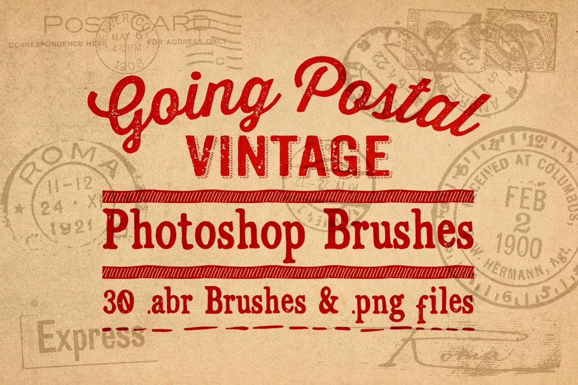 Going Postal Vintage Postage Marks Photoshop Brushes example image 1