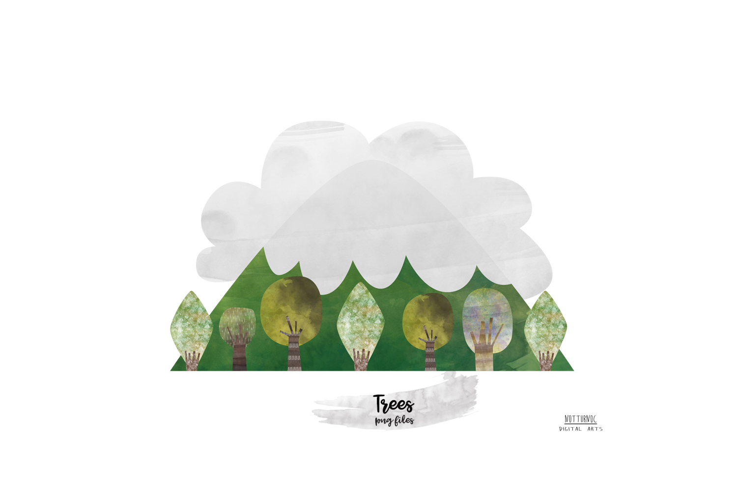 Watercolor Mountain Tree clipart. Mountain and tree clipart example image 5