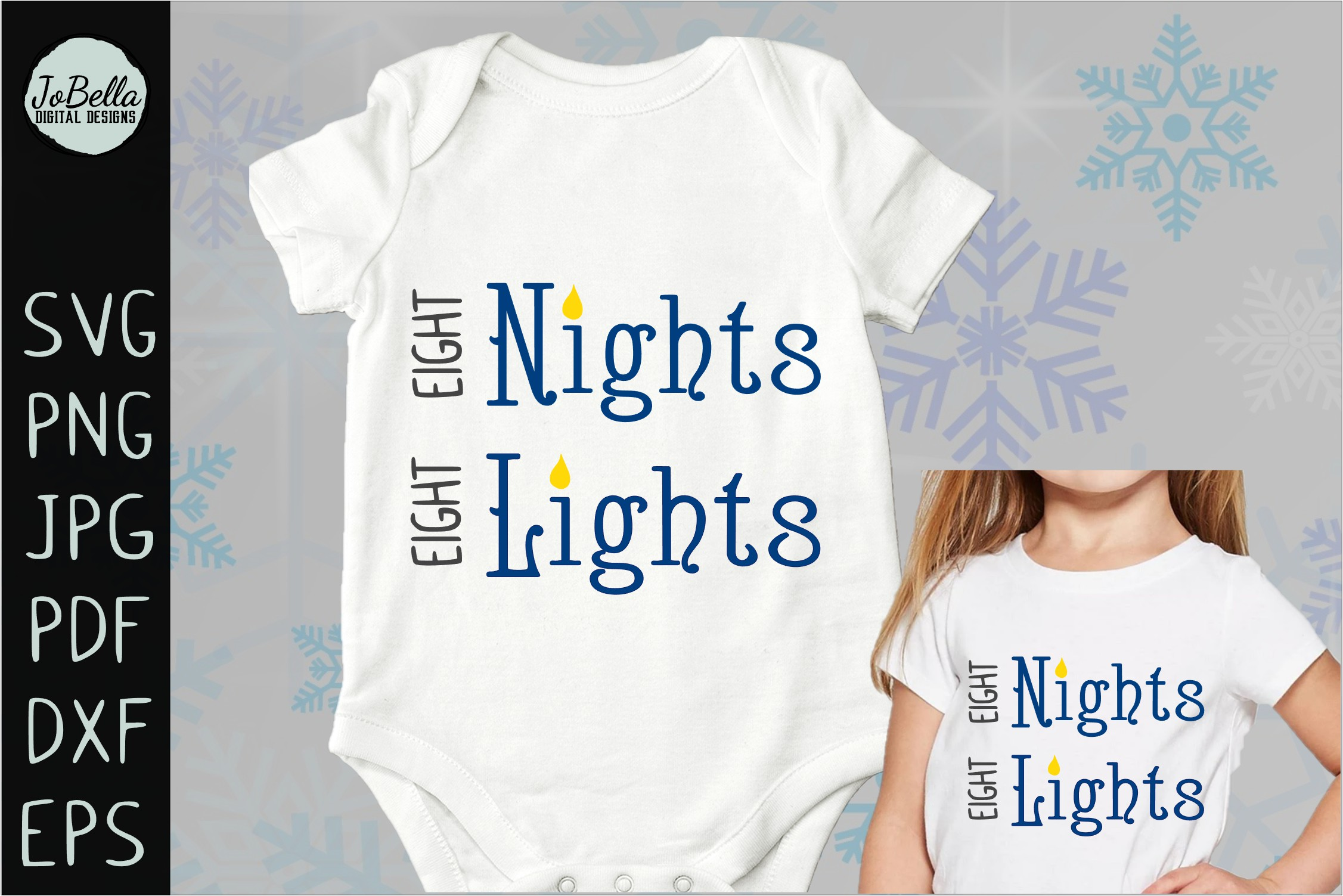 Eight Nights Hanukkah SVG, Printable and Sublimation PNG example image 3