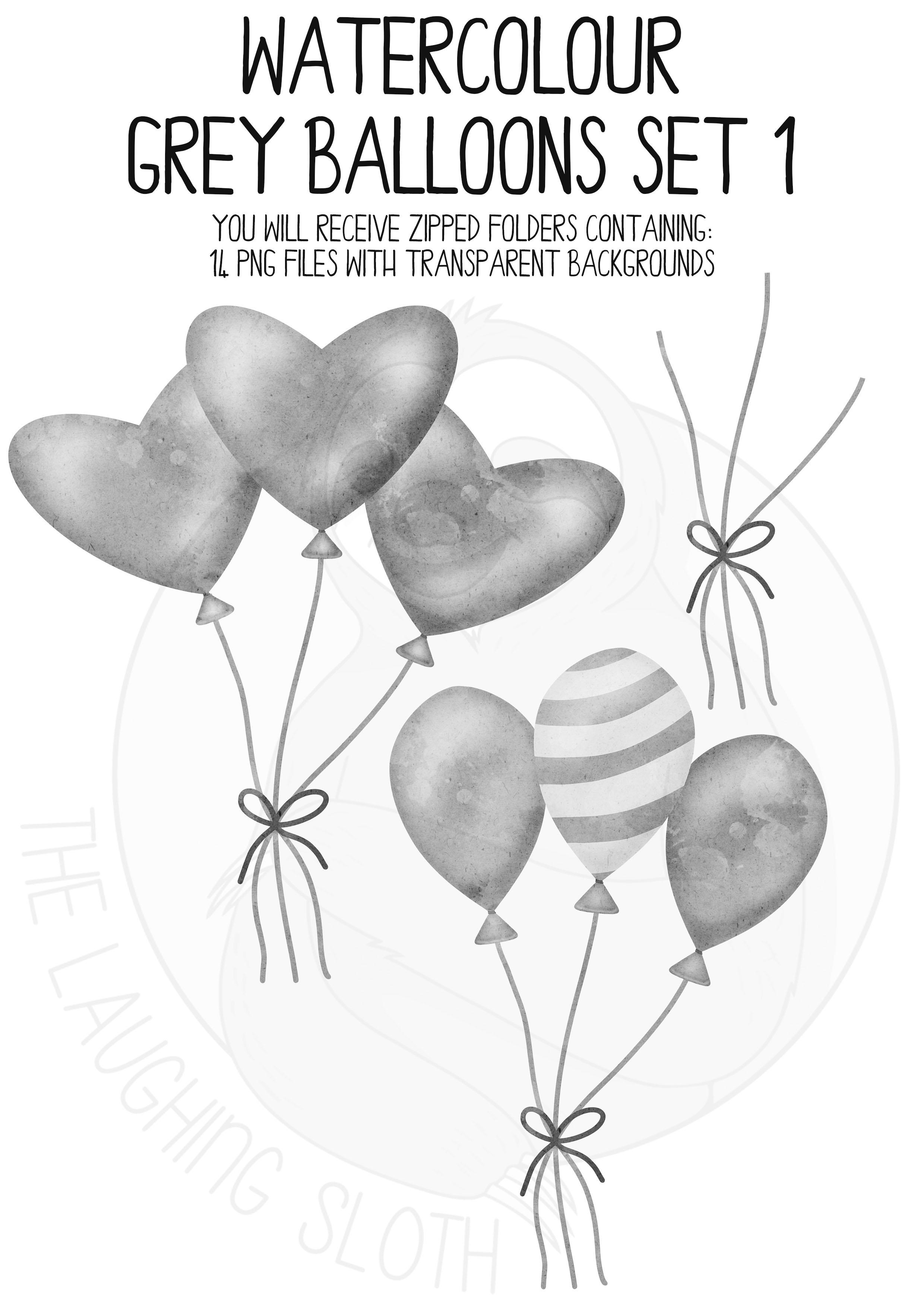 Grey Watercolor Balloon Clipart Set example image 5