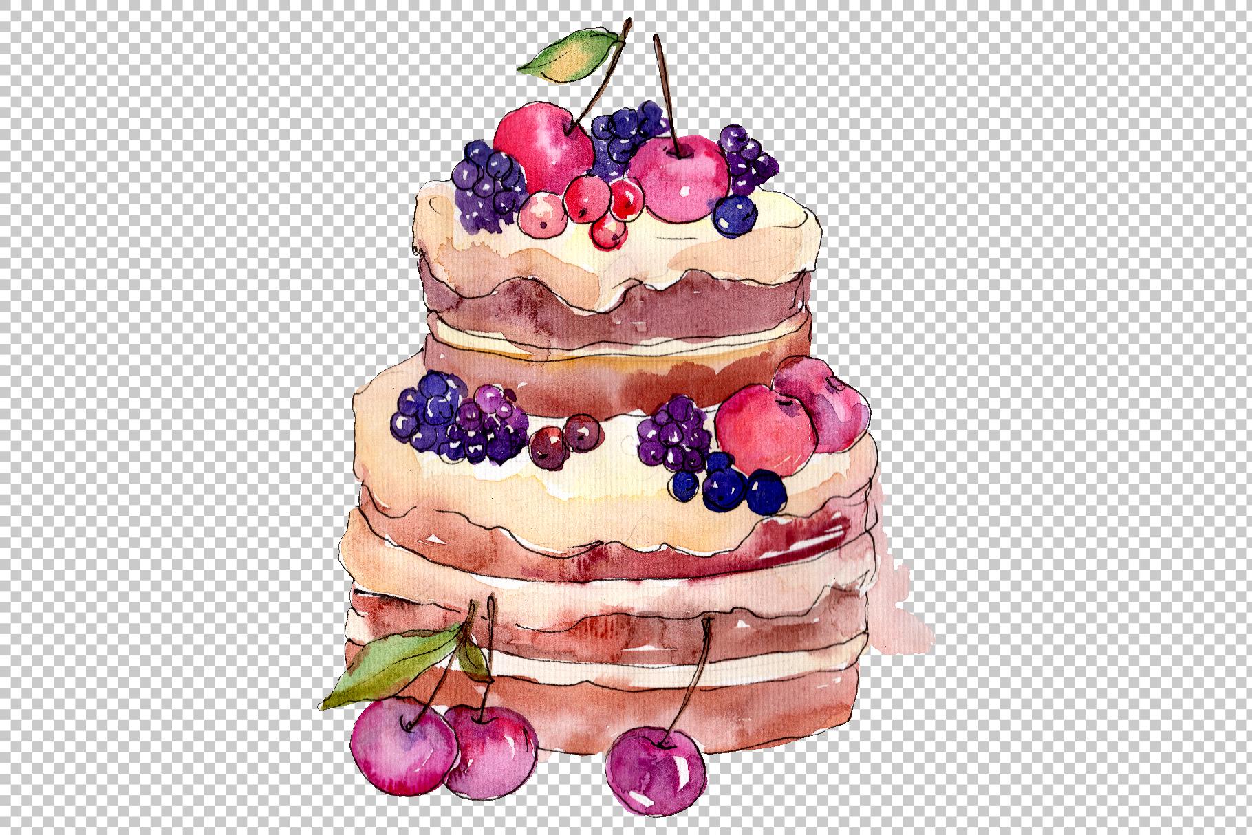 Dessert michel Watercolor png example image 5