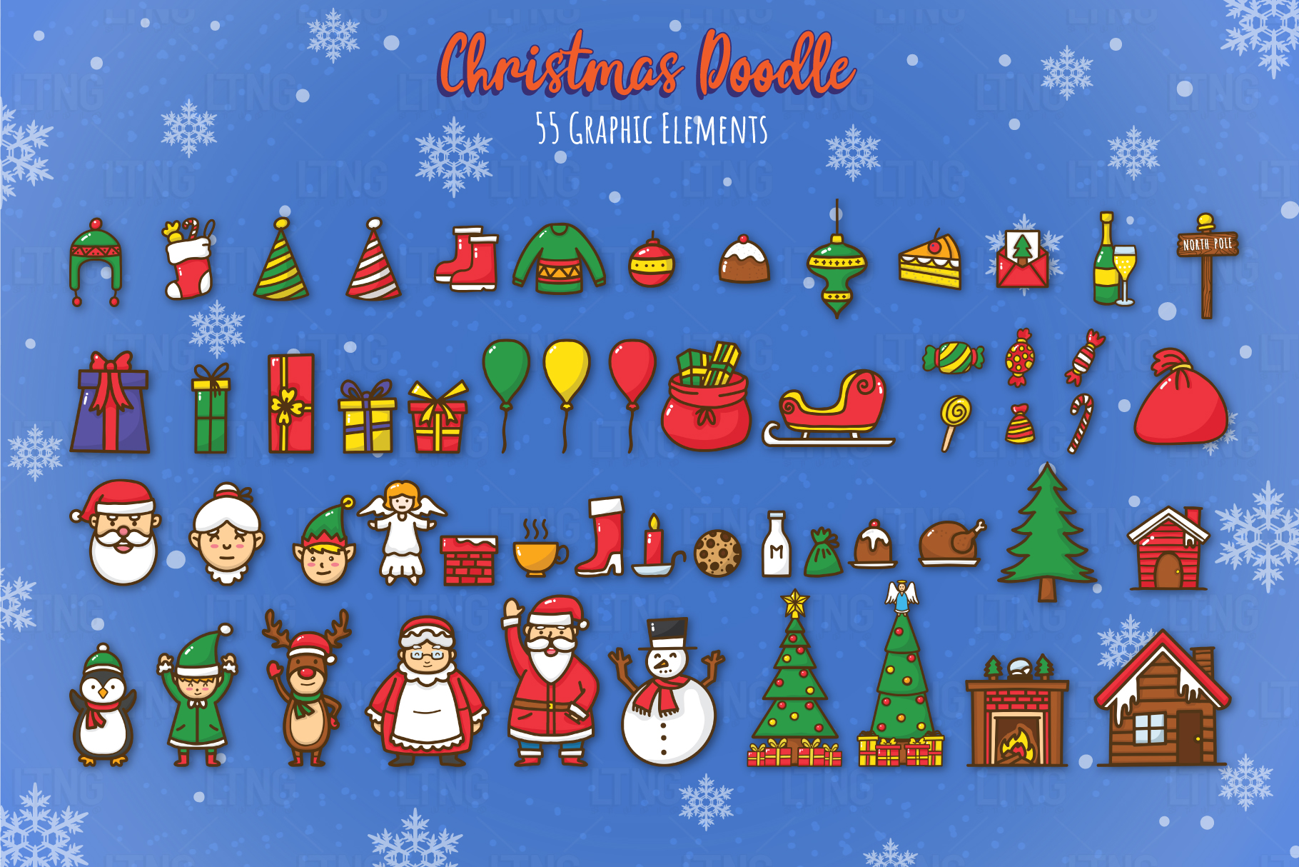 Christmas Doodle Graphic Element 2 example image 2