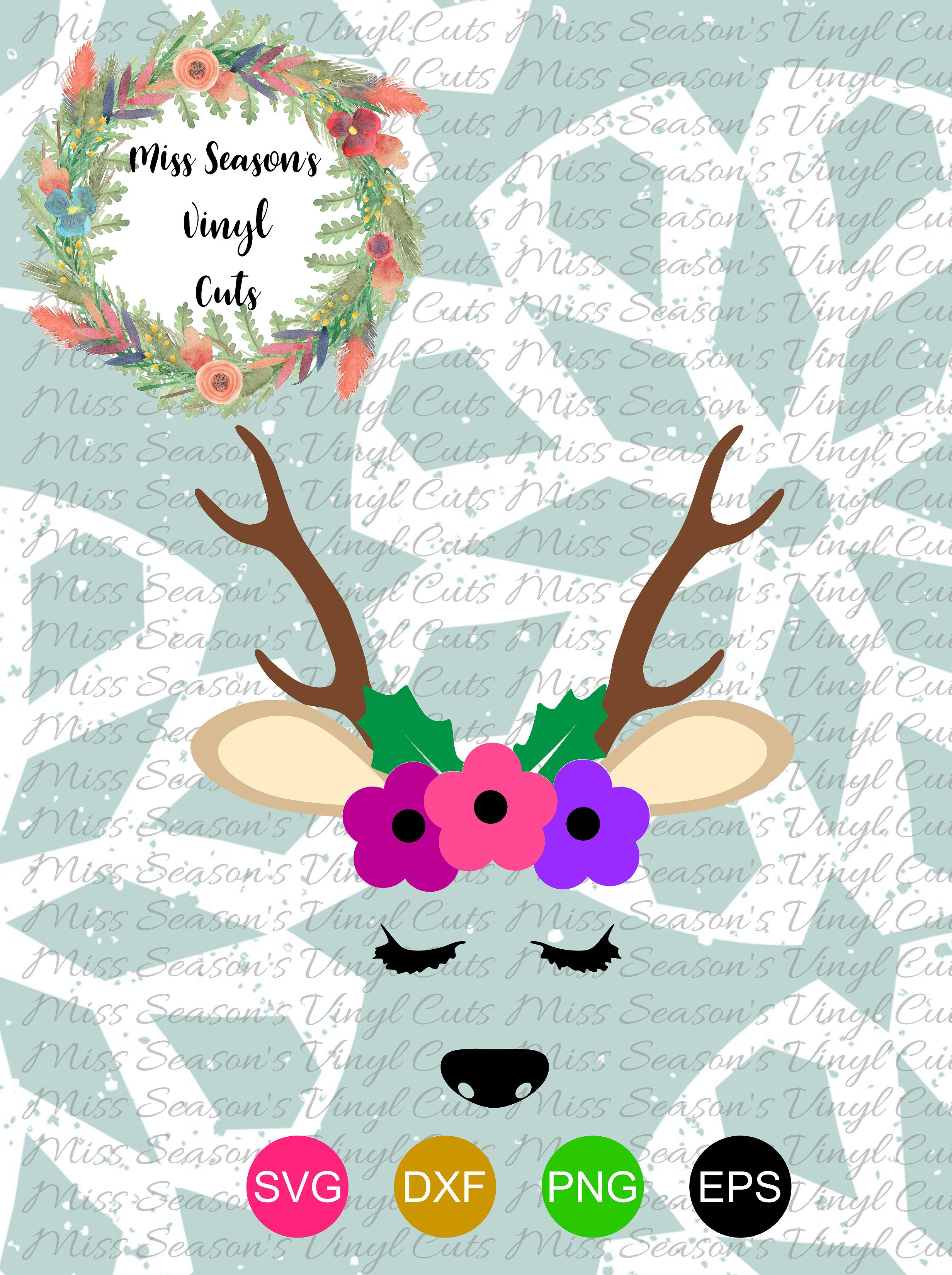 Christmas Reindeer Svg Dxf, Eps, Png example image 1
