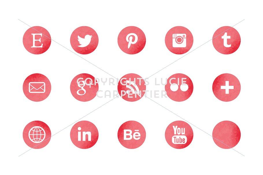 Watercolour social media icons example image 4