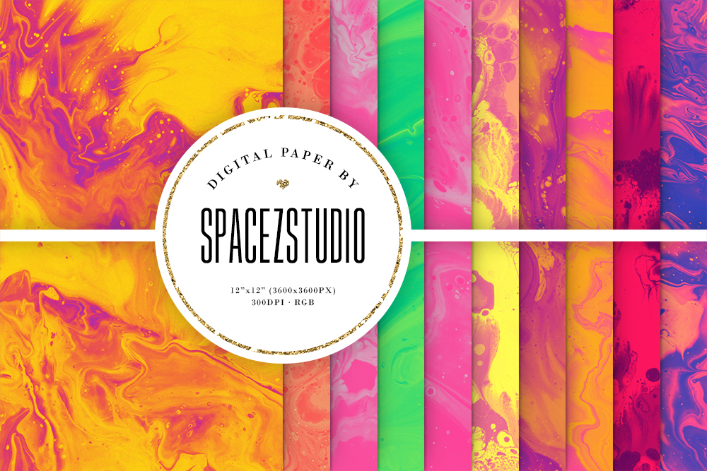 Colorful Liquid Ink Backgrounds - Wet Paint Digital Paper example image 1