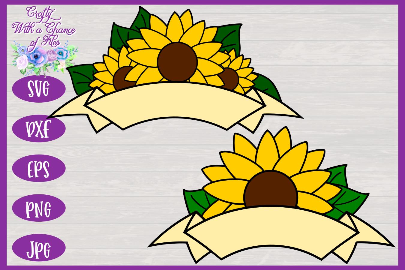 Sunflower Ribbon Banner SVG   Autumn SVG   Fall Banner SVG example image 3