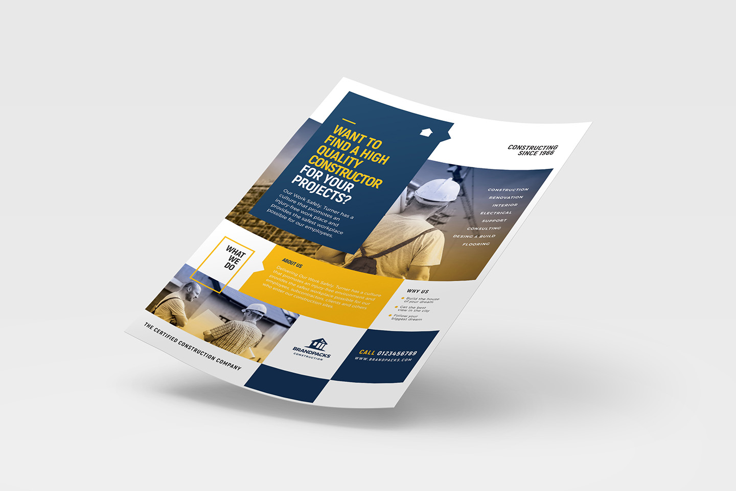 A4 Construction Company Advertisement Templates example image 4
