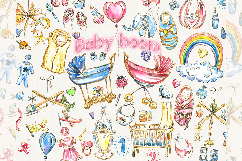 Baby clipart,pink baby clipart, baby girl clipart example image 1