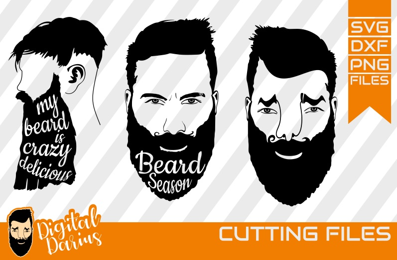 3x Beard Season svg, Man face SVG, Man svg, Long beard file example image 1