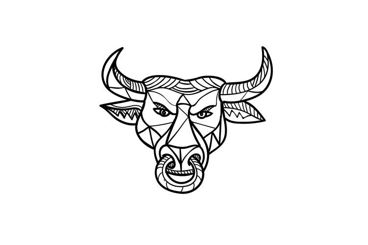 Texas Longhorn Bull Head Mosaic example image 1