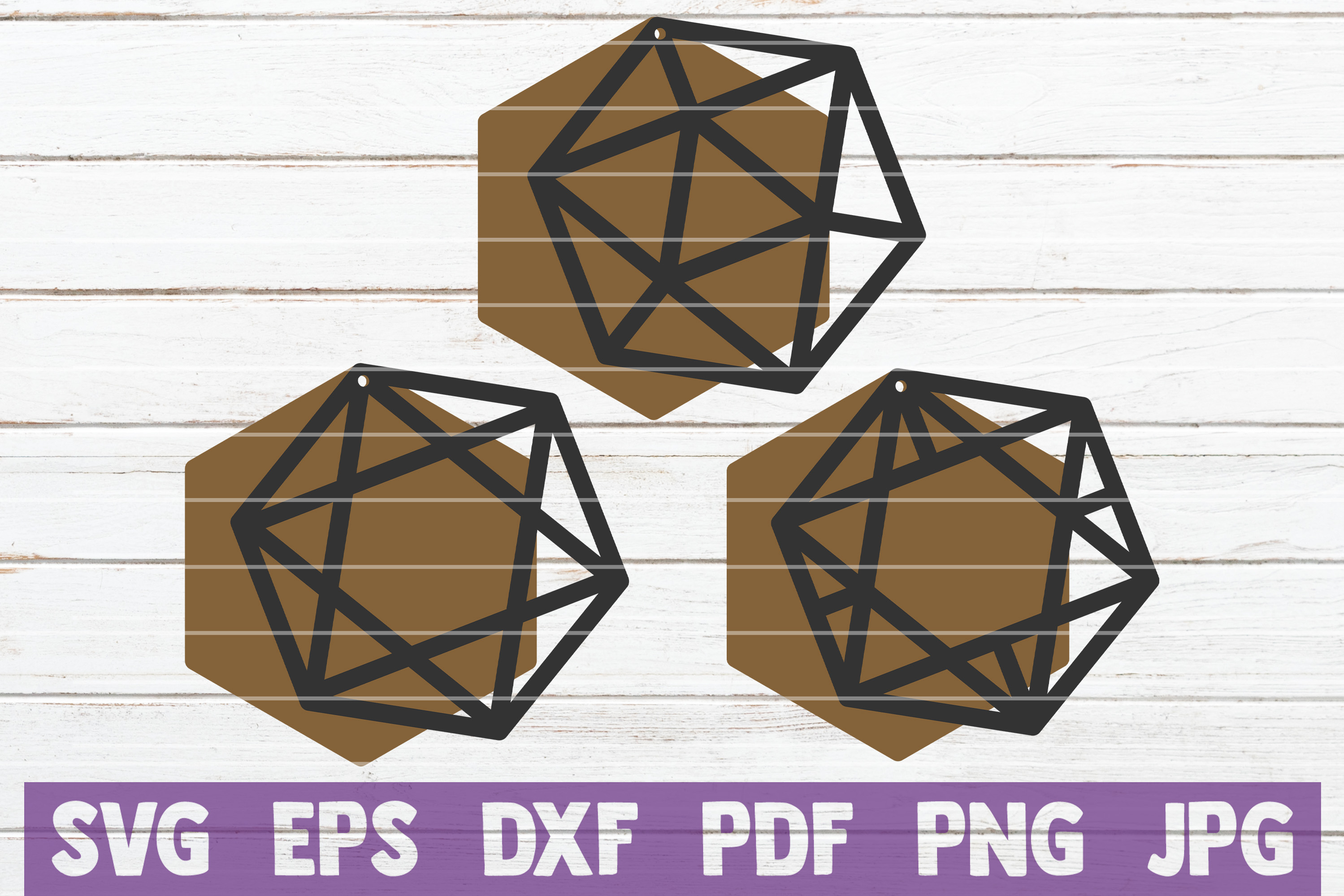 Geometric Earrings SVG cut File | commercial use example image 1