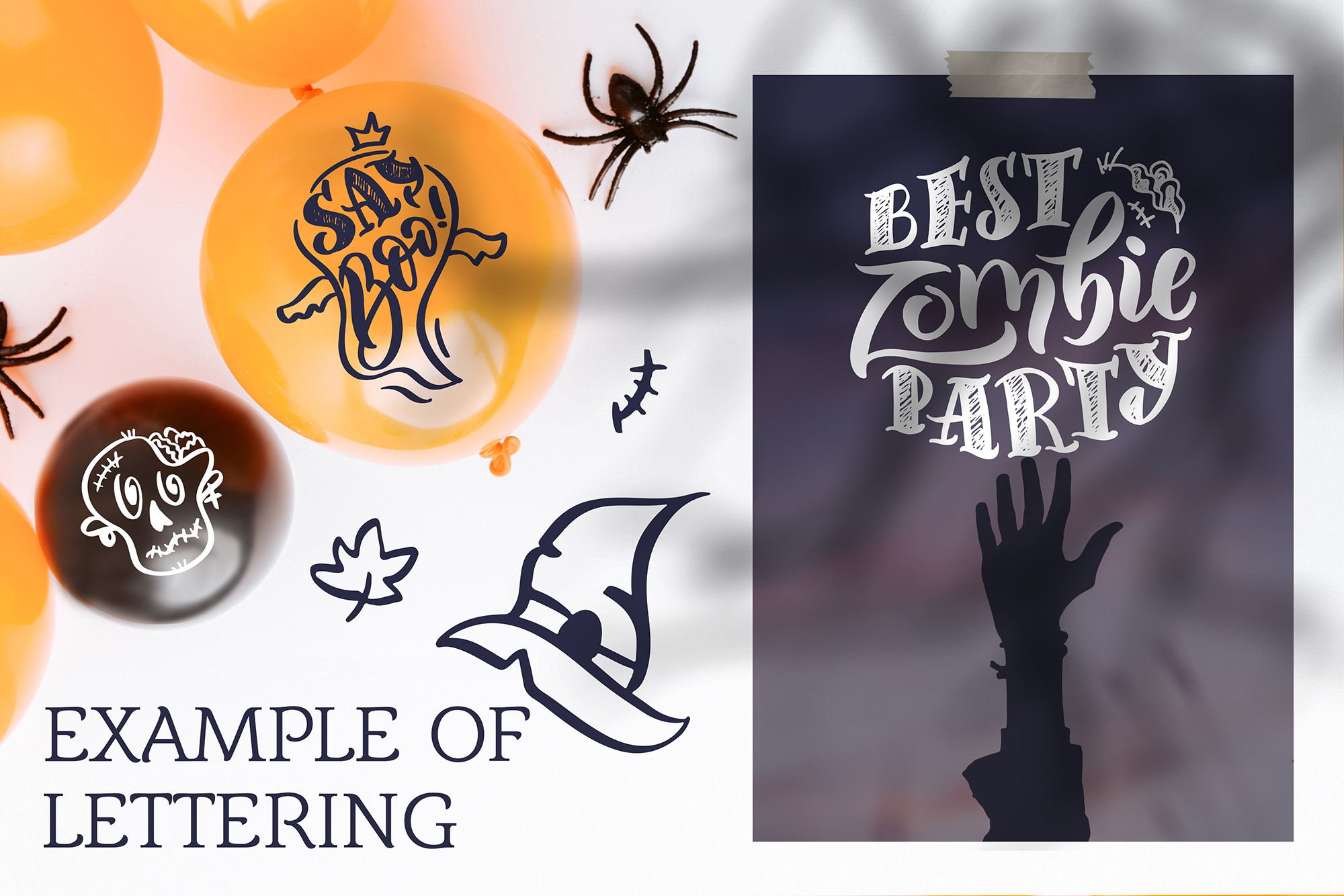 Halloween lettering set example image 7