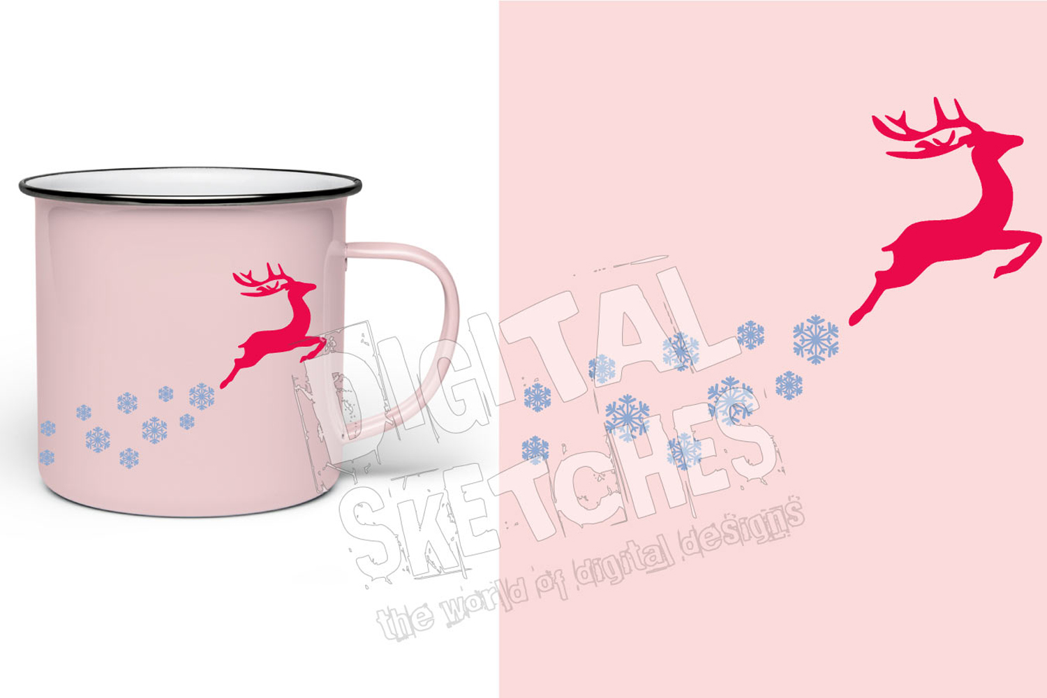Deer Snowflakes Cut File Vector Graphics Illustration example image 2