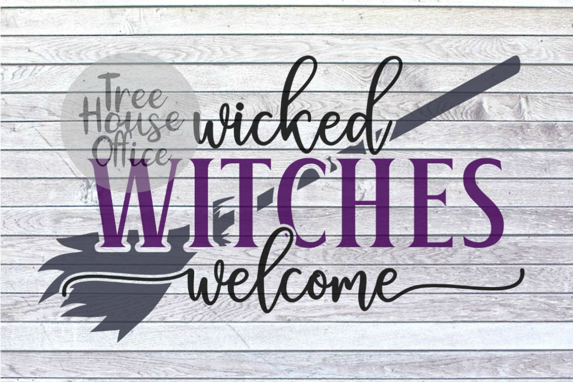 Wicked Witches Welcome Front Porch Sign SVG PNG JPG DXF example image 1