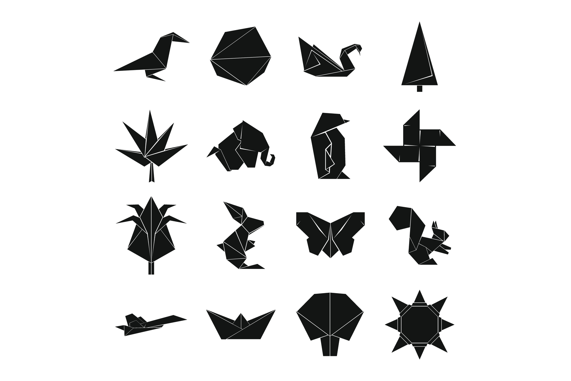 Origami icons set, simple style example image 1