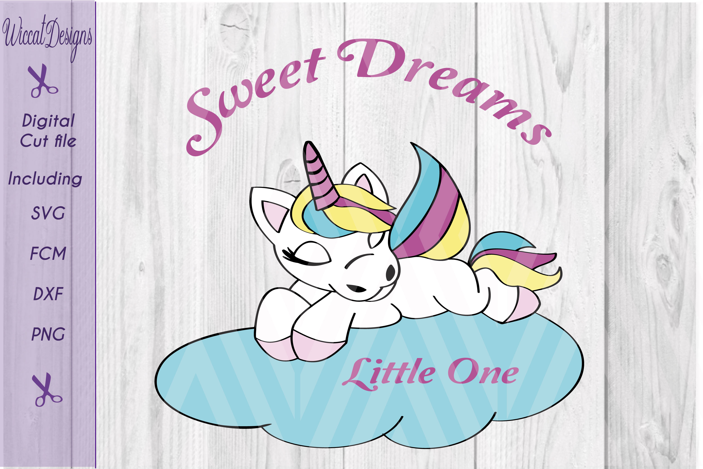 Baby Unicorn svg, sleeping unicorn, svg, dxf cut file, scanncut example image 1