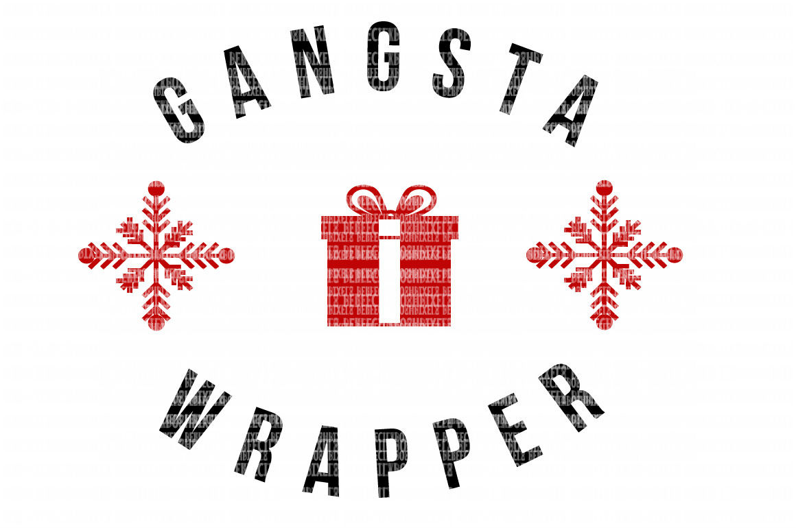 Gangsta Wrapper Christmas Svg Files Monogram Frame Cut
