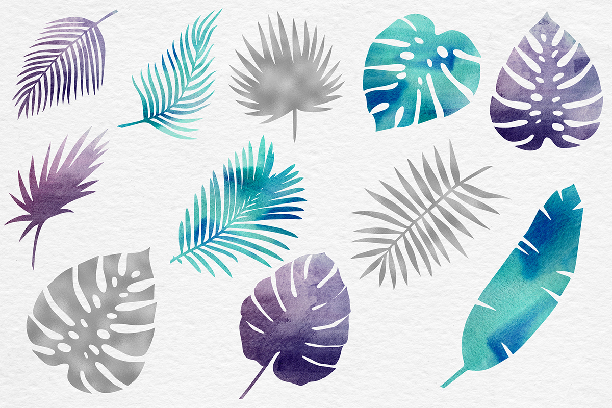 Silver & Watercolor Tropical Leaves example image 2