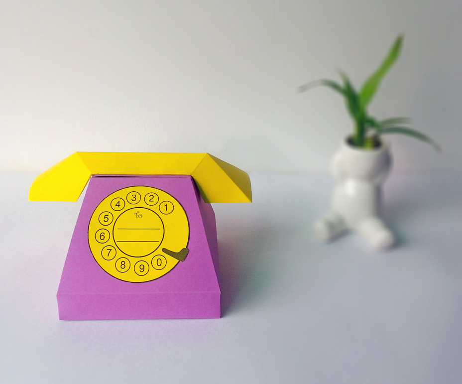 DIY Telephone favor - 3d papercraft example image 2