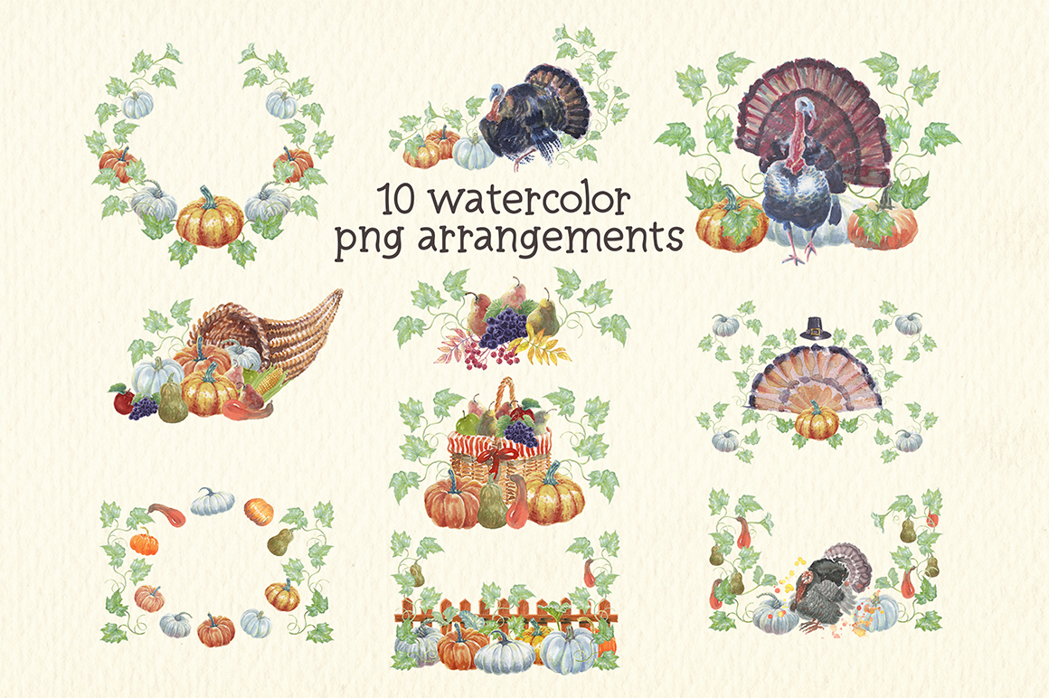 watercolor autumn, harvest and thanksgiving clipart example image 6