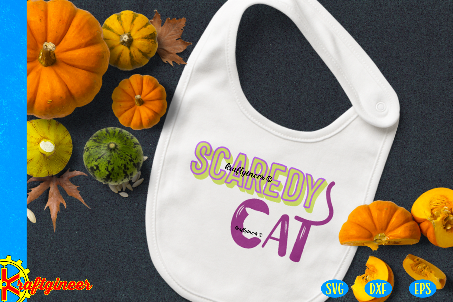 Halloween SVG, Scaredy Cat CUT FILE, DXF, EPS example image 3
