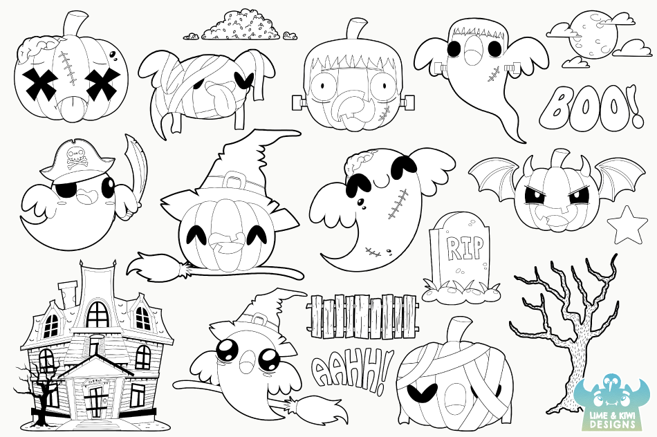 Halloween Pumpkins and Ghosts Digital Stamps example image 2