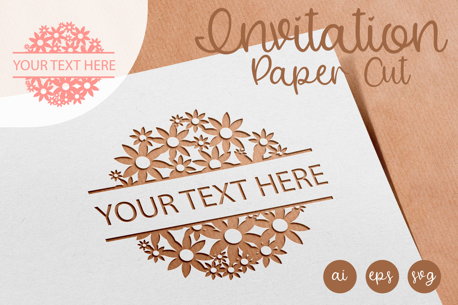 Round Flowery Invitation Paper Cut AI, SVG, EPS example image 1
