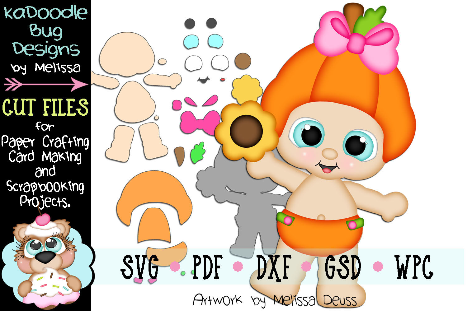 Fall Sunflower Pumpkin Girl Cut File - SVG PDF DXF GSD WPC example image 1