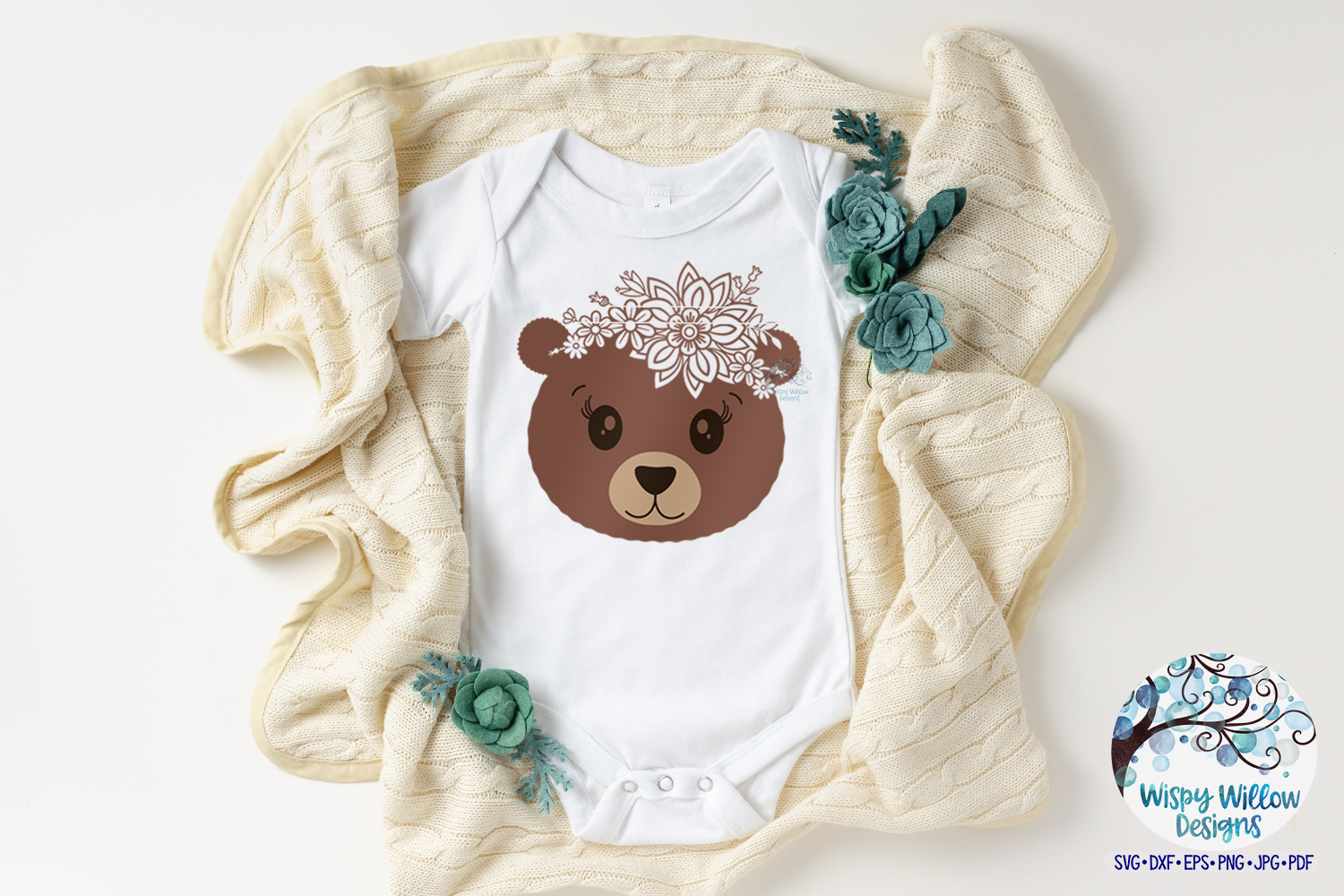 Floral Bear SVG | Cute Bear Face SVG Cut File example image 2