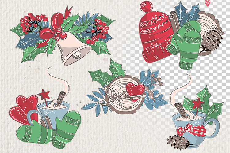 MERRY CHRISTMAS Color Clipart Illustration Set example image 5