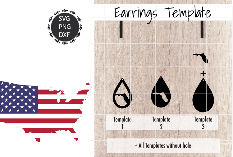 Earrings Template - Florida Teardrop Earrings Svg example image 2