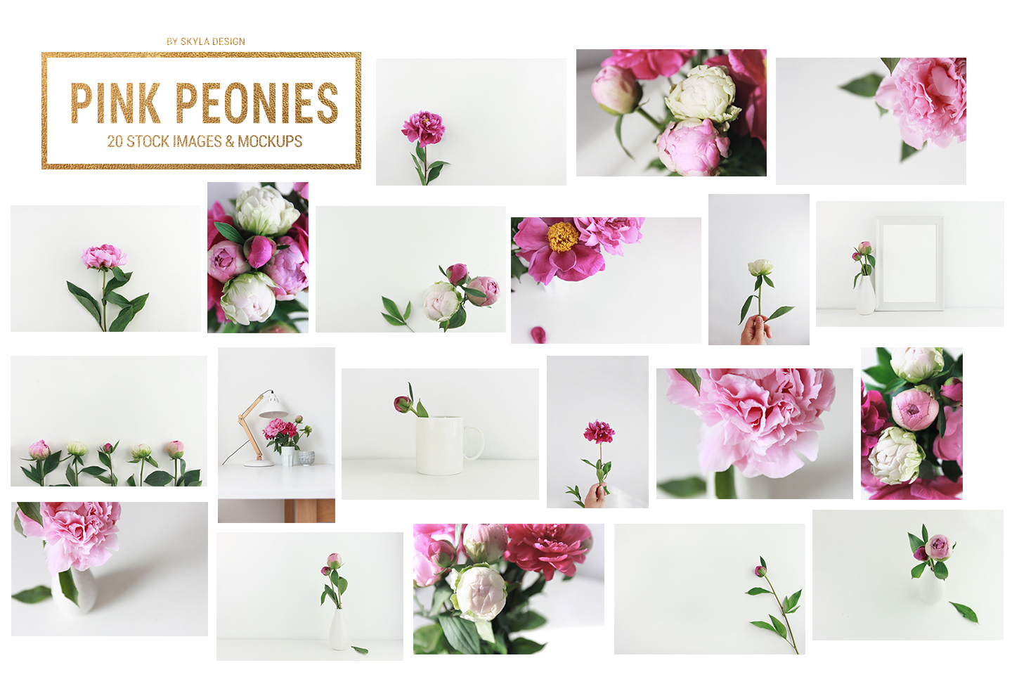20 Styled stock pink peonies, floral images & mockups example image 2