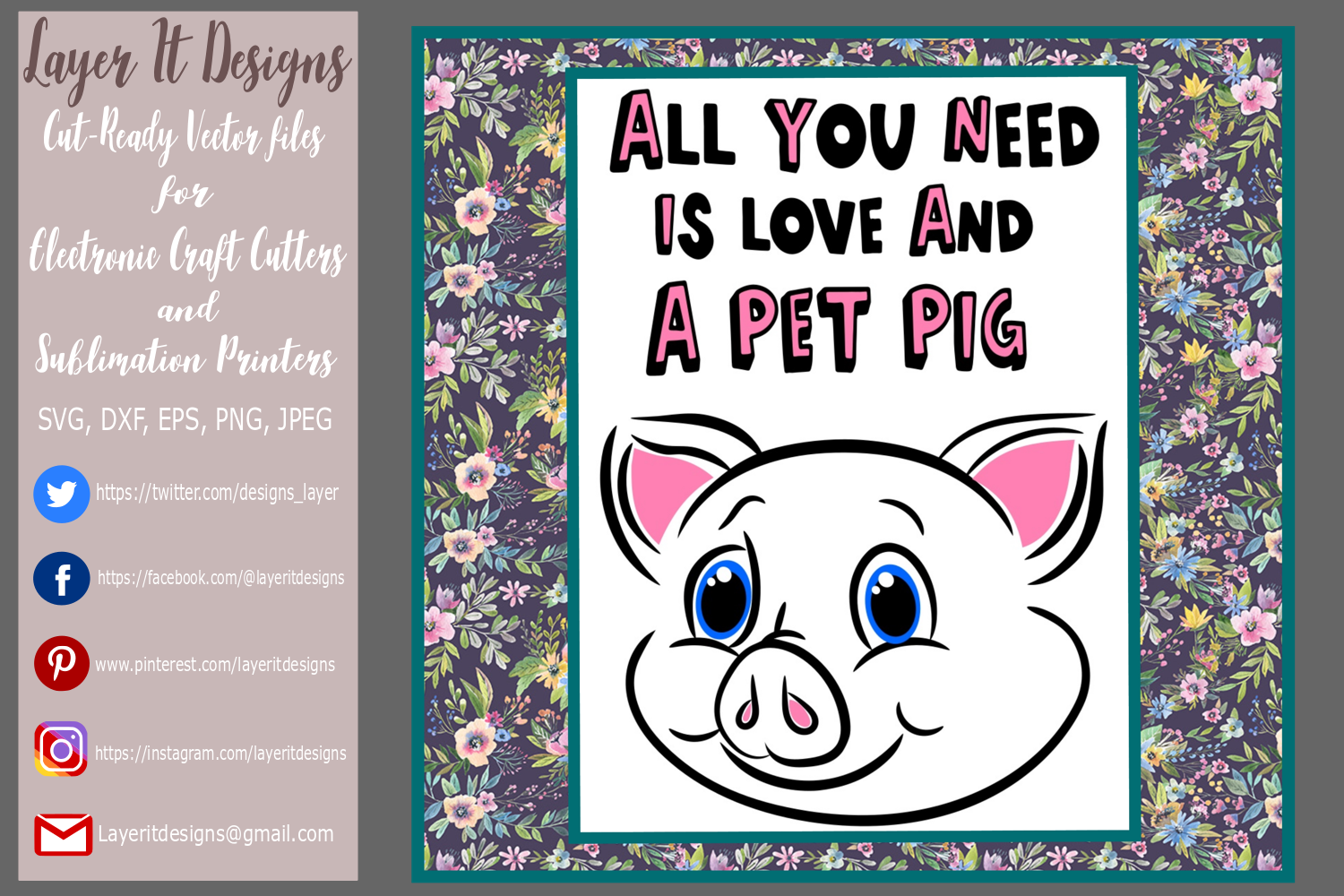 All You Need Is Love And A Pet Pig Design file example image 4