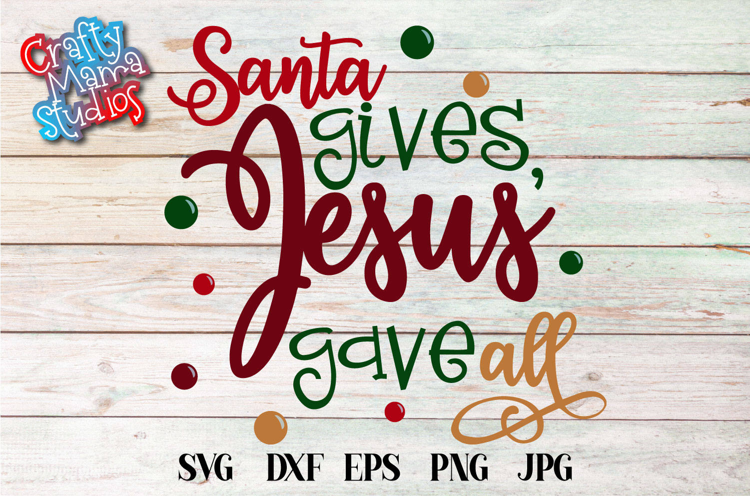 Santa Gives Jesus Gave All SVG, Merry Christmas Sublimation example image 2