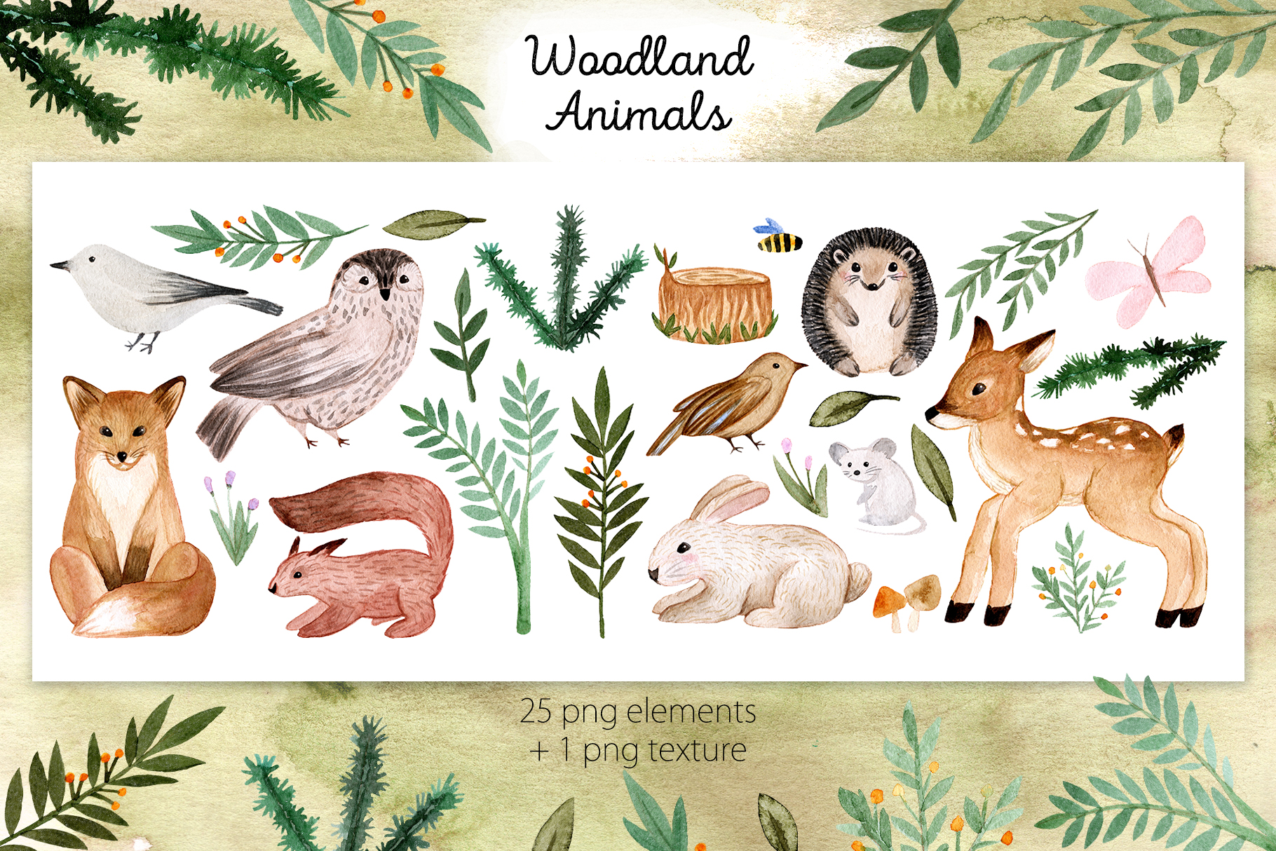 Woodland Animals. Patterns, Cliparts example image 2