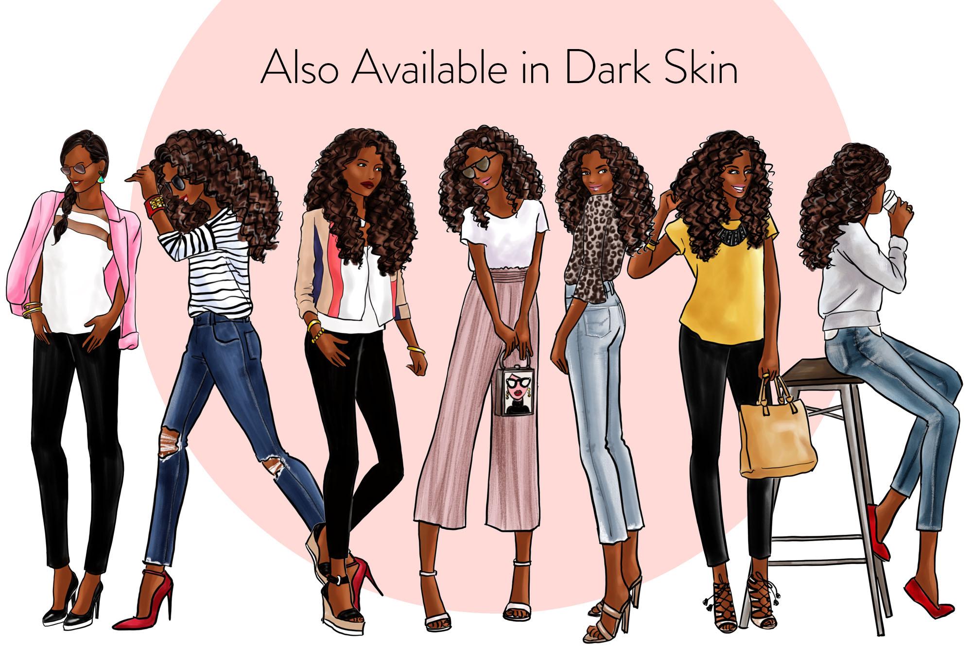 Fashion illustration clipart - Fashion Girls 31 - Light Skin example image 4