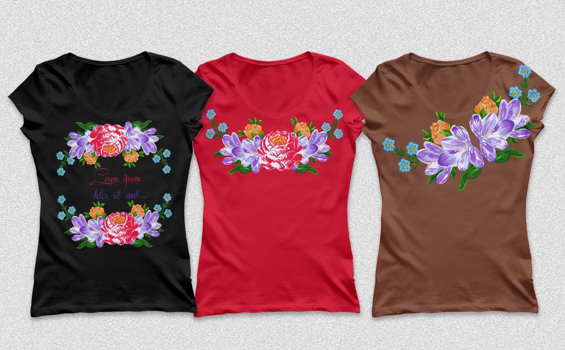 Textile flowers set. example image 2