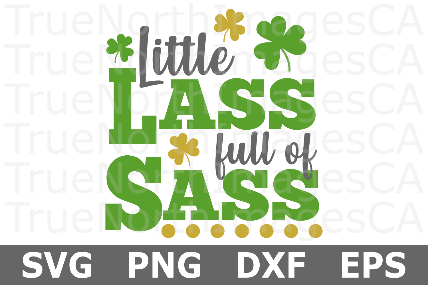 Little Lass Full of Sass - St Patricks Day SVG Cut File example image 1