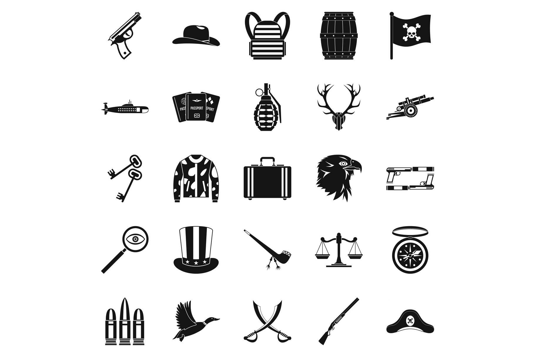 Slug icons set, simple style example image 1