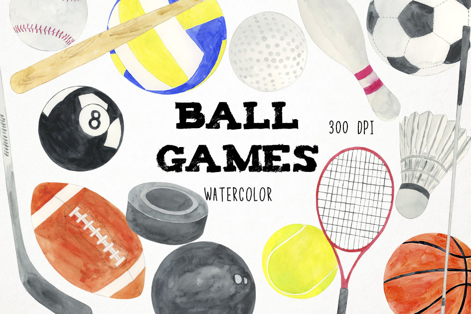 Watercolor Ball Games Clipart, Sports Clipart, Sports PNG example image 1
