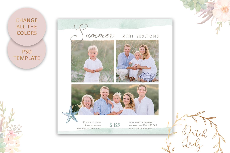 PSD Photo Summer Beach Mini Session Card Template - #42 example image 3