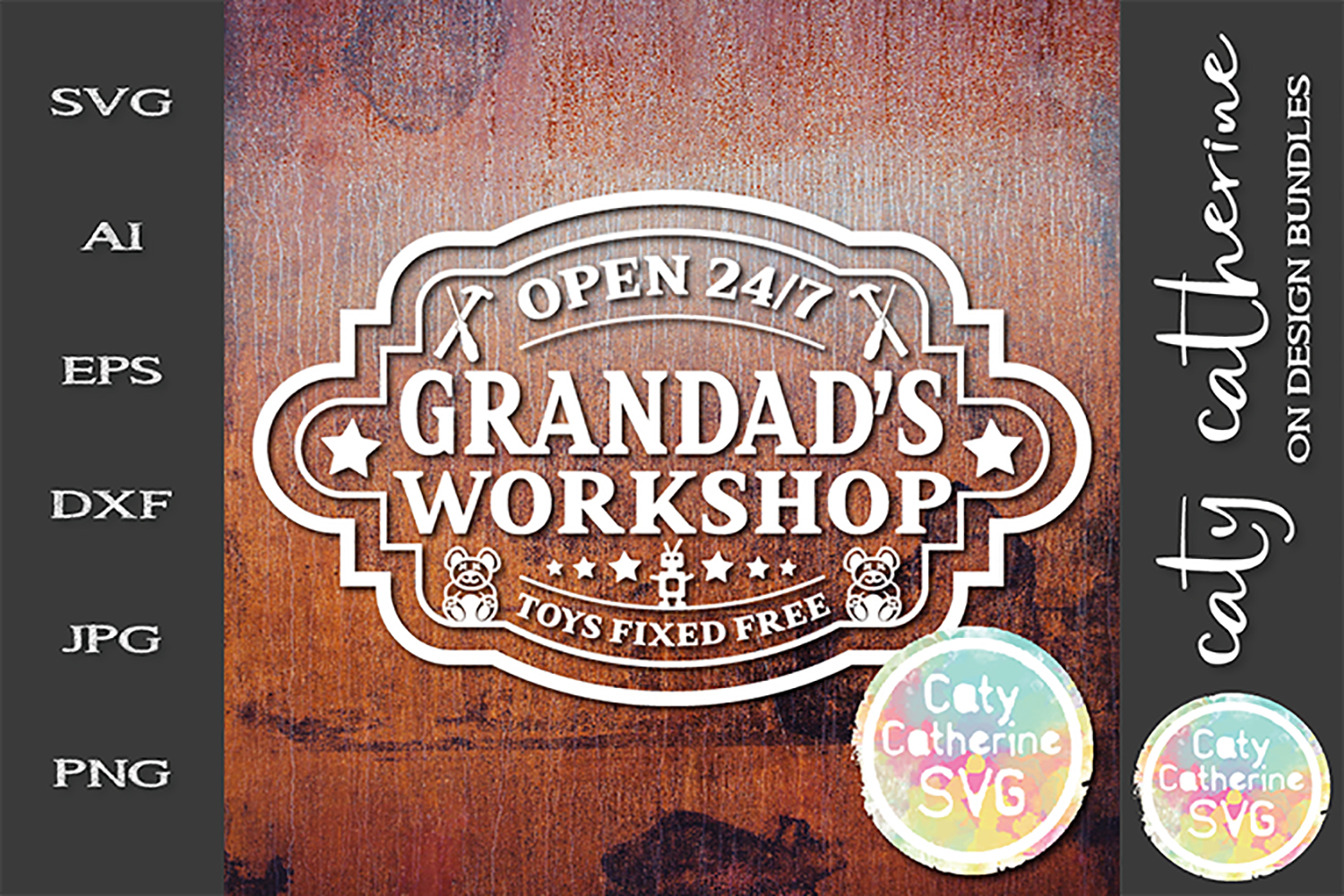 Grandad's Workshop Open 24/7 Toys Fixed SVG example image 1