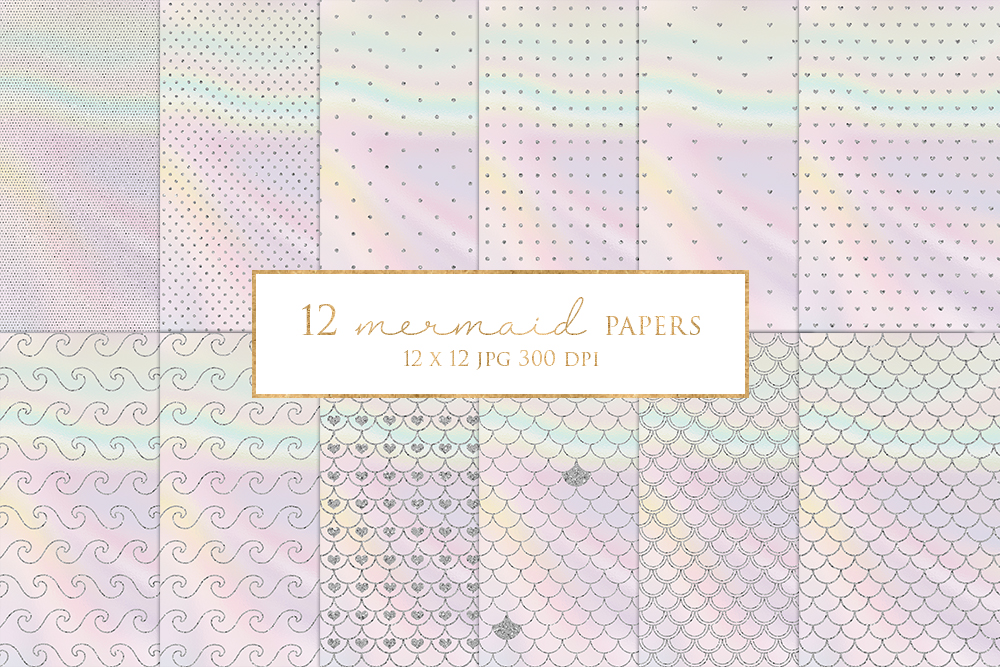 12 Silver Glitter Mermaid Digital Paper Pack example image 1