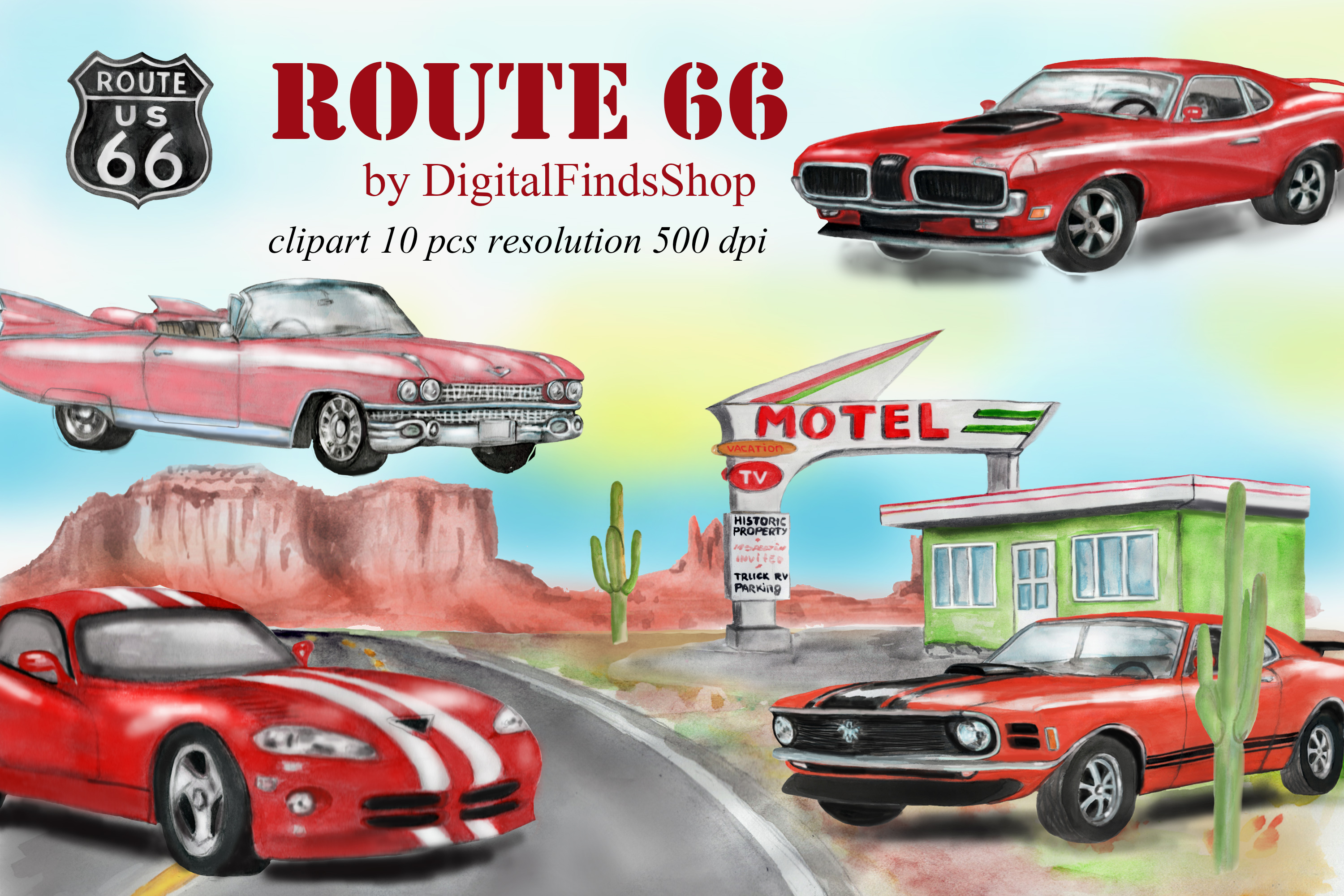 American car clipart, Route 66, vehicle watercolor clipart example image 1