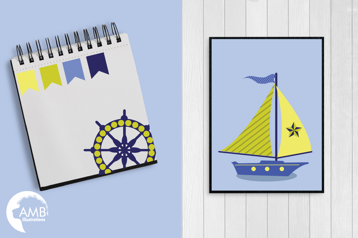 Nautical Whales clipart, graphics, illustrations AMB-518 example image 5