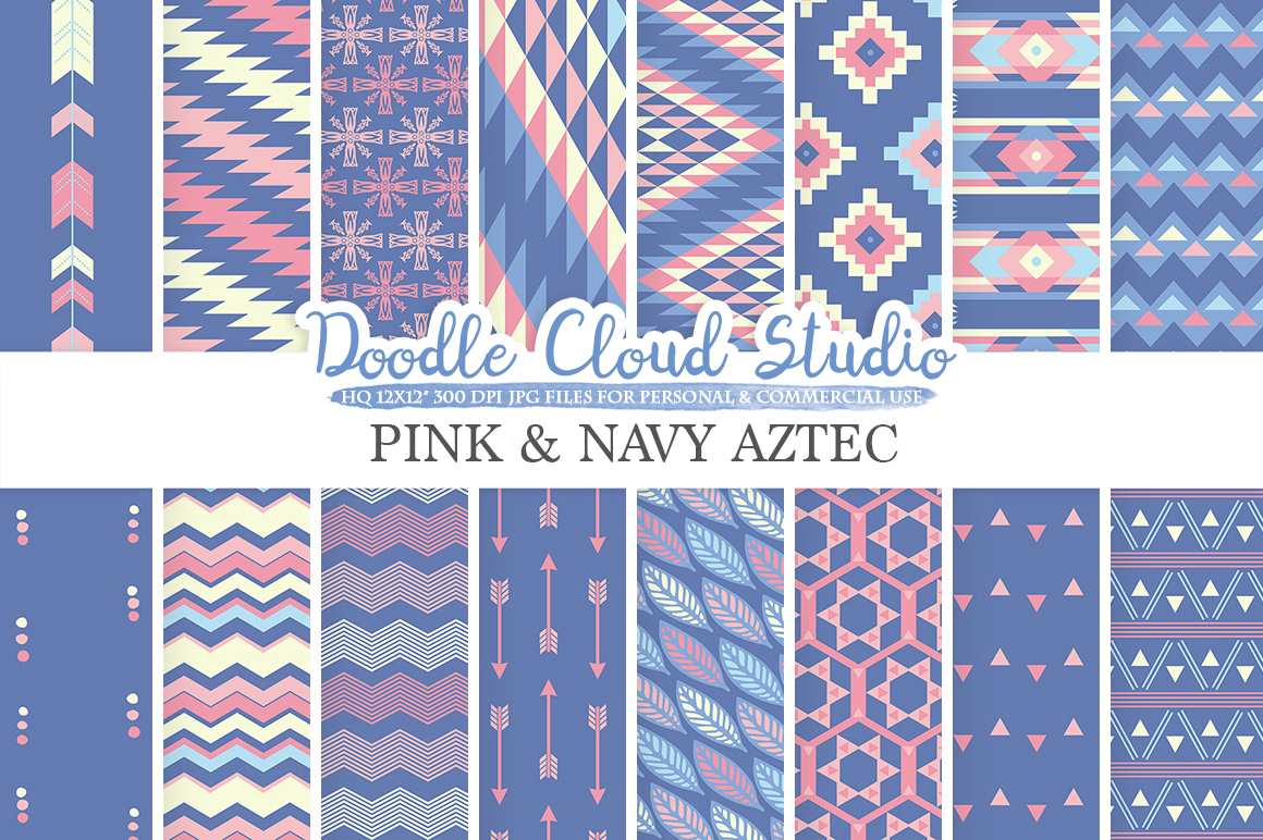 Pink and Navy Aztec digital paper Tribal patterns native triangles geometric ethnic arrows Purple Blue background Personal & Commercial Use example image 1