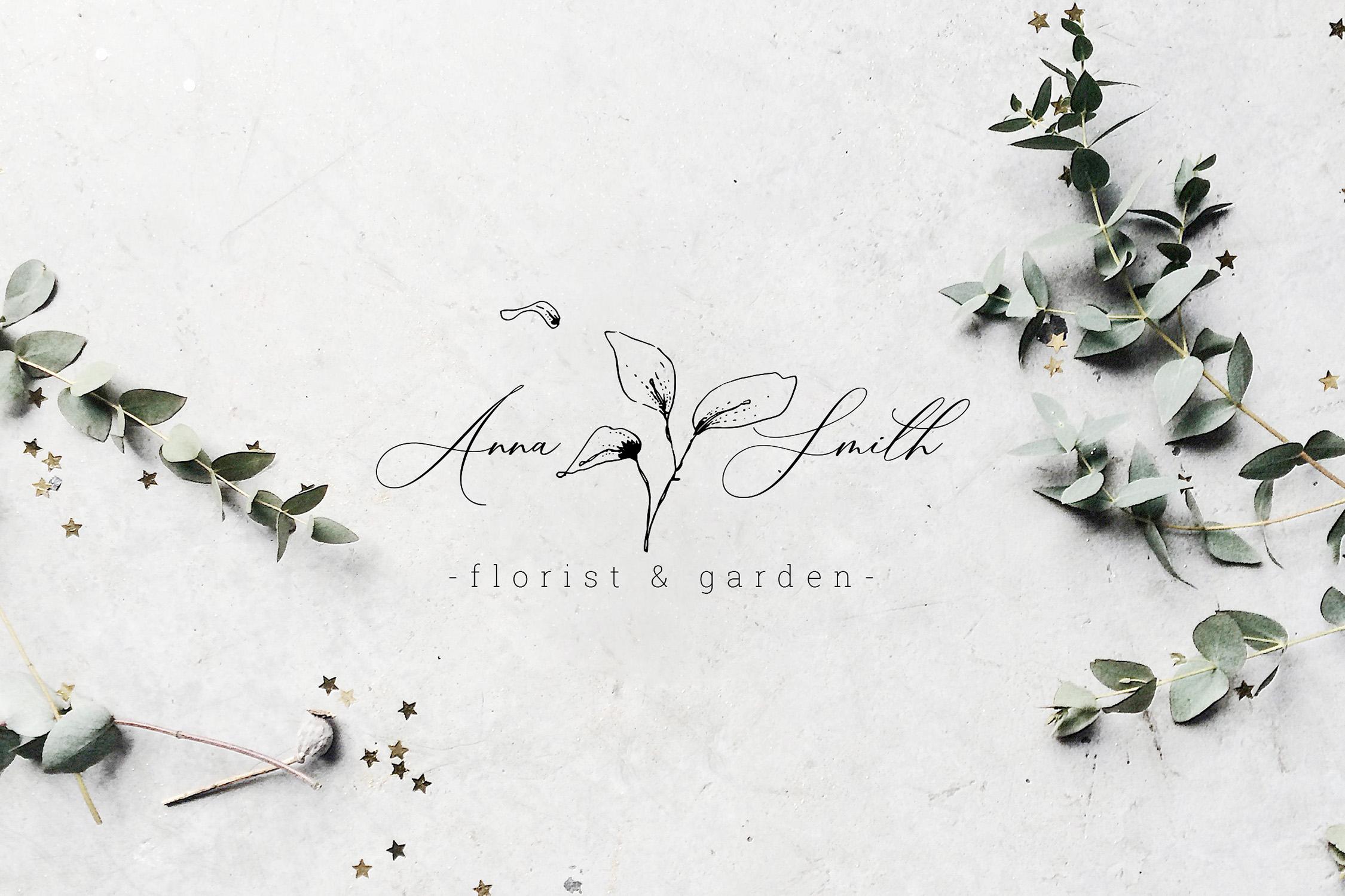 Floral Outline Illustration & Logo Pack example image 15
